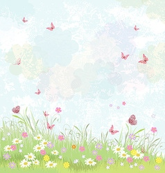 Summer background floral meadow with pink vector