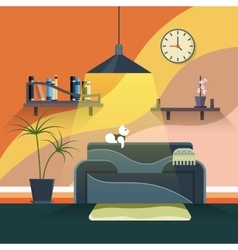 Interior of modern living room in flat design vector