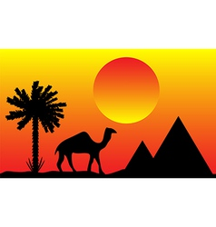Sunset in egypt with palms pyramids and camel vector