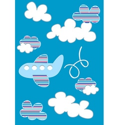Plane in clouds with stripes vector