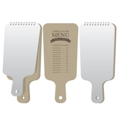 Menu template in the form of a cutting board vector