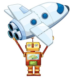 Robot lifting up spaceship vector