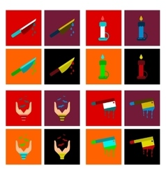 assembly flat icons knife blood wax candle hand vector image