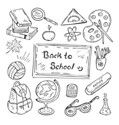 back to school hand-drawn doodle set vector image