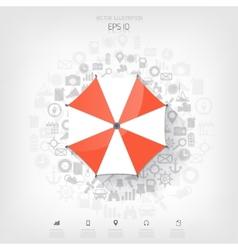 Beach umbrella web flat icon background wit vector