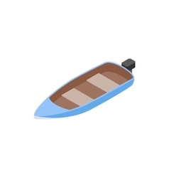 Blue motor boat icon isometric 3d style vector