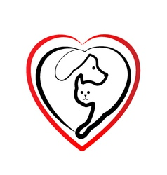 Cat and dog heart silhouette logo vector image vector image