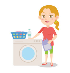 character of mother with washing machine vector image vector image