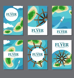 Collection of rectangular cards with sea islands vector image vector image