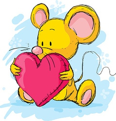 Cute mouse with heart pillow vector