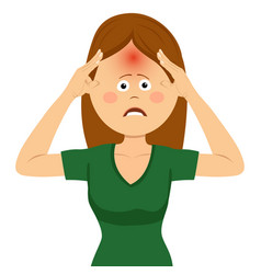 Cute young woman having strong headache vector