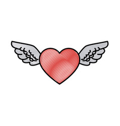 Drawing romantic heart wings cute decoration vector