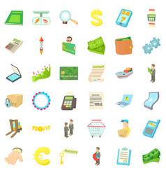 euro icons set cartoon style vector image vector image