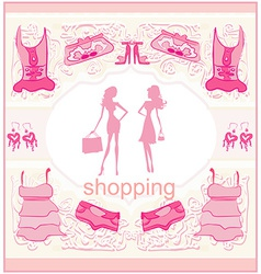 Fashion silhouettes girls shopping vector