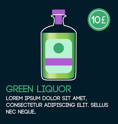Green liquor card template with price and flat vector