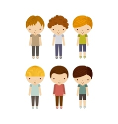 Group of boys icon kid and cute people design vector