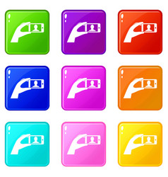 Hand holding mobile phone with photo icons 9 set vector