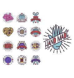 Handmade needlework craft badges sewing fashion vector