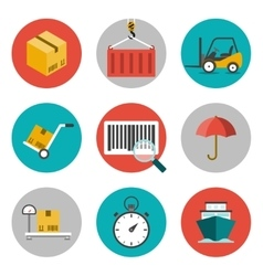 Logistic flat icons vector image