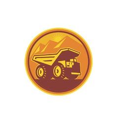 Mining dump truck retro vector