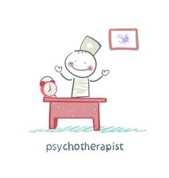 Psychotherapist working in his office vector