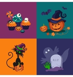 Pumpkin Sweets and Cat Halloween vector image