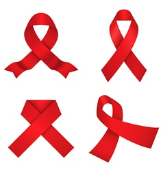 Red awareness ribbons vector image vector image