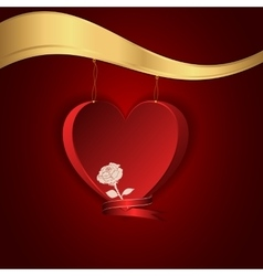 Red heart hung on a gold chain to the gold shelf vector