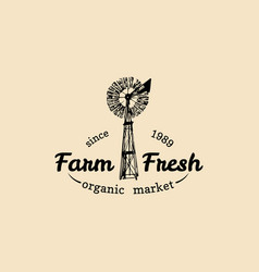 Retro family farm logotype organic premium vector