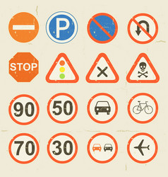 Road signs grunge retro set vector
