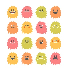 Set of hand drawn cartoon smiley monsters vector image vector image