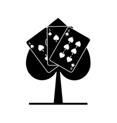 Spade poker sign with three card casino vector