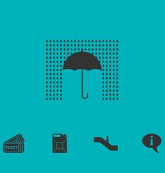 Umbrella and rain icon flat vector