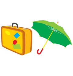 Suitcase and umbrella vector