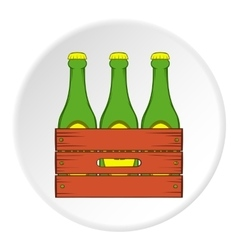 Beer bottles in a wooden box icon cartoon style vector