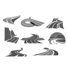 Roads and highways isolated icons vector