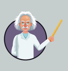 character scientist physical holding ruler purple vector image
