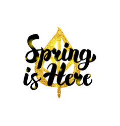 Spring is here gold inscription vector
