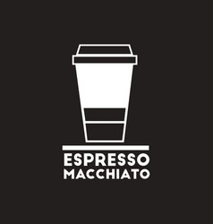 White icon on black background espresso vector