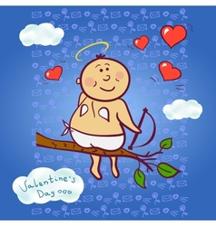 Smiling cupid vector