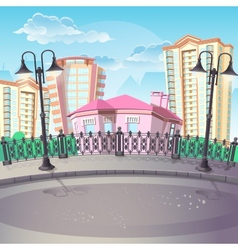 Image of city quay with lanterns vector