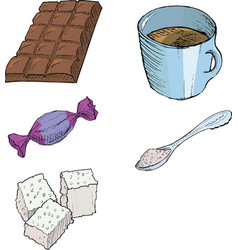 Bar of chocolateCup of coffeeWrapping candySpoon w vector image