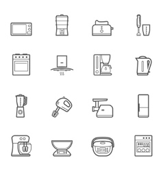 Kitchen appliances line style icon set vector