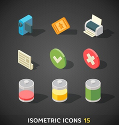 Flat isometric icons set 15 vector