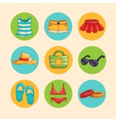 Summer girls accessorise icons set vector