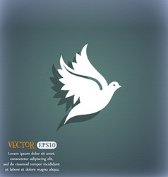 Dove icon symbol on the blue-green abstract vector
