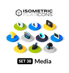 Isometric flat icons set 38 vector image