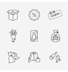 Gift flat contour shop icon set on white vector