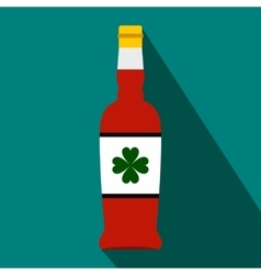 Beer bottle with a clover on the label flat icon vector