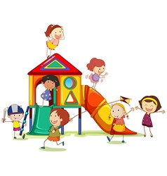 Children playing around the playhouse vector
